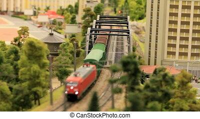 miniature railway - moving miniature model trains