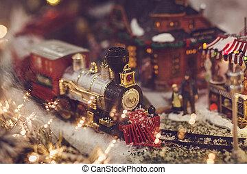 miniature railway with train