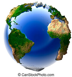 Miniature real Earth - 3D model of the globe with an...