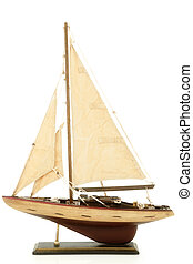 Replica Sail Ship On Stand Over White