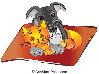 Miniature Schnauzer dog and British kitten lying on the rug in unison, drawing, vector illustration