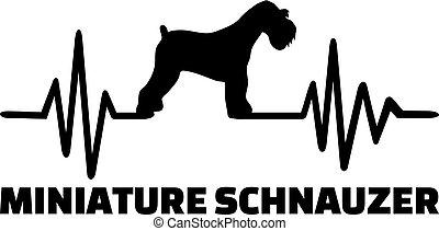 Miniature Schnauzer heartbeat word - Heartbeat pulse line...