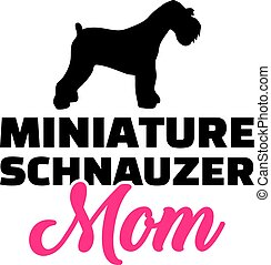 Miniature Schnauzer mom silhouette with pink word