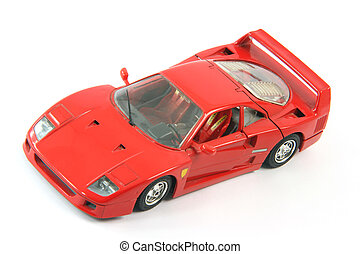 miniature sportscar - red sports car miniature isolated on ...