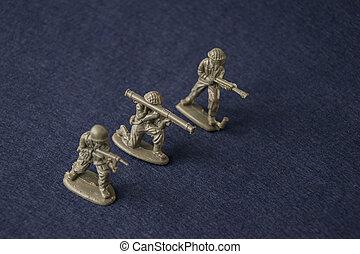miniature, stykke legetøj, soldiers., plast legetøj, militær, mænd, hos, war.