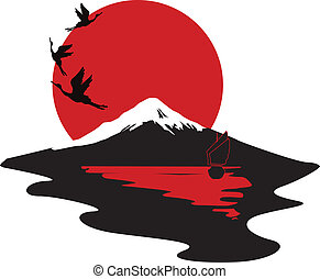 miniature symbolizing Japan - Japanese miniature with cranes...
