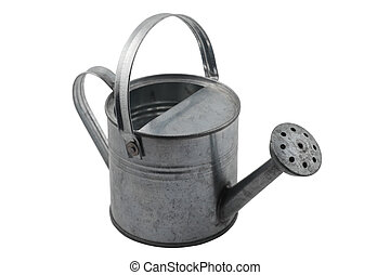 miniature tin watering can on white