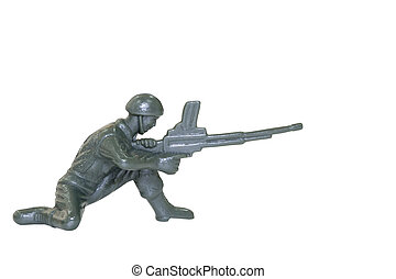 Miniature toy soldier on white background