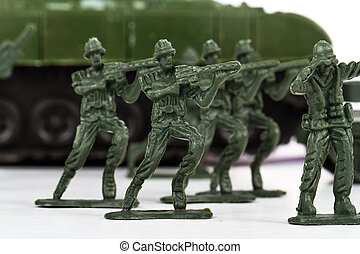 Miniature Toy Soldiers and Tank