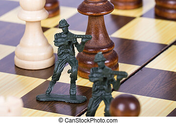 Miniature Toy Soldiers on Chess Board