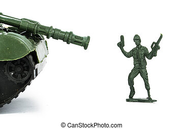 Miniature Toy Tank and Soldier