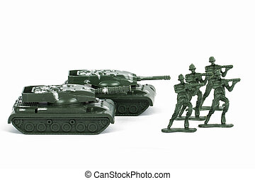 Miniature Toy Tank and Soldiers