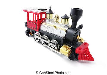 Miniature Train Model on Isolated White Background