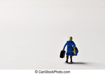 miniature traveler woman with suitcases - miniature traveler...
