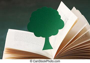miniature tree on open book