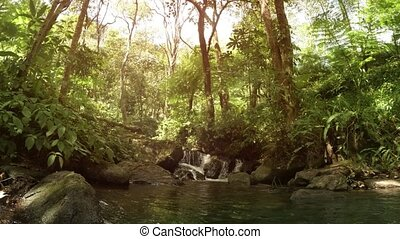 Miniature Tropical Waterfall in Thailand, with Sound - Water...