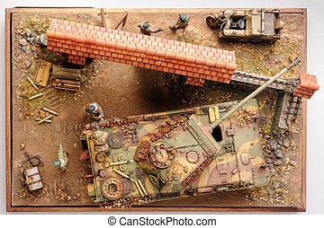 Miniature with german forces WWII times. Top view