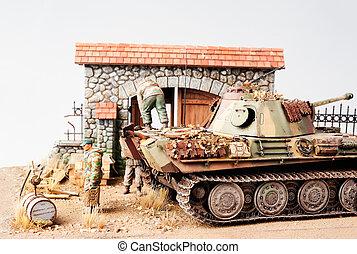 "Miniature with german tank ""Panther"""