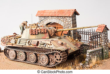 "Miniature with german tank ""Panther"""