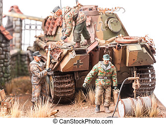 """Miniature with soldiers andgerman tank """"Panther"""""""