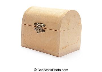 Miniature Wooden Treasure Box on White Background