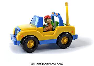 miniatuur, gele auto
