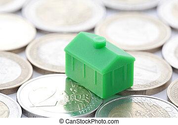 miniatuur, groen huis, op, eurobiljet, munt