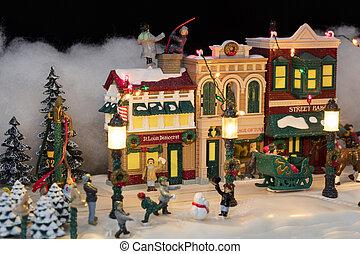 miniatuur, kerstmis, dorp, scène