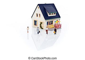 miniatuur, mensen, met, woning