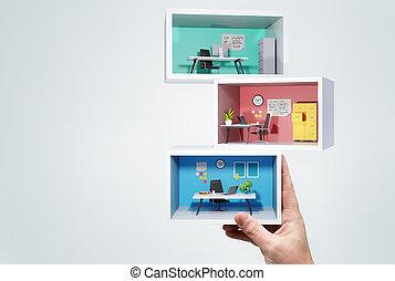 miniatuur, stapel, kantoor, zakelijk, kamers