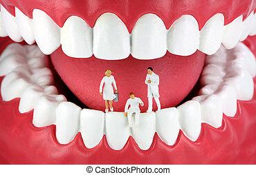 miniatuur, tandartsen, in, grote mond