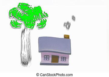 miniatuur, woning, met, zilver, sleutels, concept, van, een, nieuw huis, vastgoed, en, eigendom, concept