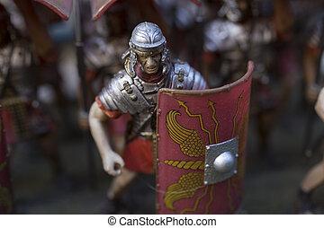 miniatyr, av, romersk, empire', tjäna som soldat