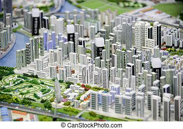 miniatyr, modell, stad