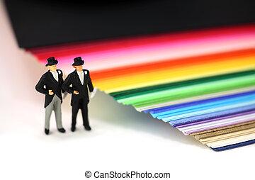 miniatyr, par, homosexuell