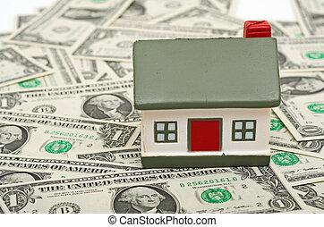 miniatyr, pengar., hus
