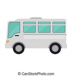minibus, caricatura, veículo