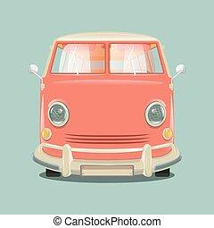 Minibus cartoon colorful vector illustration