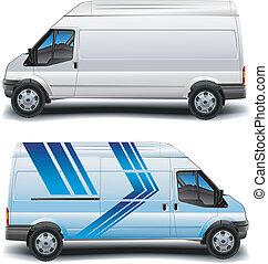 minibus, dans, bleu