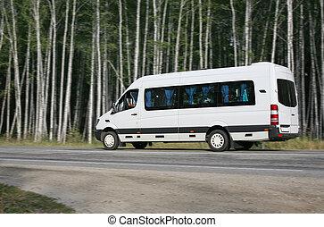 minibus, forêt, va, route