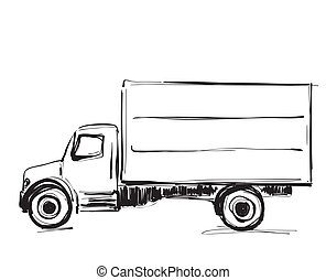 Minibus for cargo transportation. Hand drawn sketch illustration isolated on white background. Truck