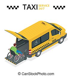 Minibus for physically disabled people. Taxi or car for man on wheelchair. Vehicle with a lift. Flat 3d vector isometric illustration.