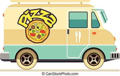 Minibus for pizza delivery fast food transport