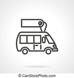 Minibus for sale  black line design vector icon