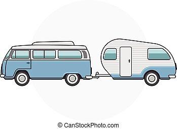 minibus, fourgon, -, campeur, retro, vendange, côté, caravane, vue