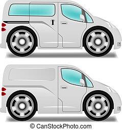 minibus, furgão, grande, entrega, rodas, caricatura