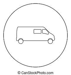 Minibus icon black color in circle