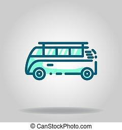 minibus icon or logo in  twotone - Logo or symbol of minibus...