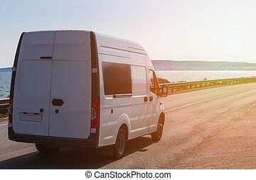 minibus, mouvements, long, autoroute