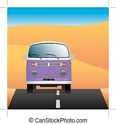 Minibus on a deserted road. Transport in the landscape. Vector Image.